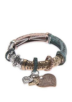 Kim Rogers Tri-Tone Metal Stretch Bracelet with Heart Charm Bracelet