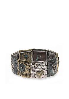 Kim Rogers Tri-Tone Antiqued Inspirational Stretch Bracelet
