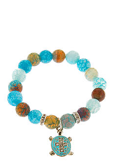Kim Rogers Boxed Green And Blue Genuine Stone Sea Life Stretch Bracelet