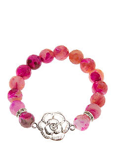 Kim Rogers Genuine Pink Stone Flower Stretch Bracelet