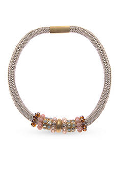 Kim Rogers Gold-Tone Pink Beaded Magnetic Collar Necklace
