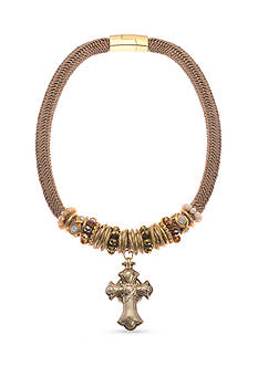 Kim Rogers Gold-Tone Beaded Cross Magnetic Collar Necklace