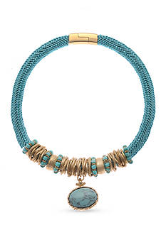 Kim Rogers Gold-Tone Turquoise Beaded Magnetic Collar Necklace