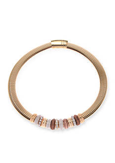 Kim Rogers Gold-Tone Crystal Rings Magnetic Collar Necklace