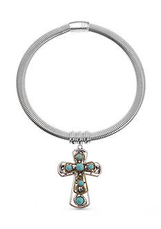 Kim Rogers Silver-Tone Cross Magnetic Collar Necklace
