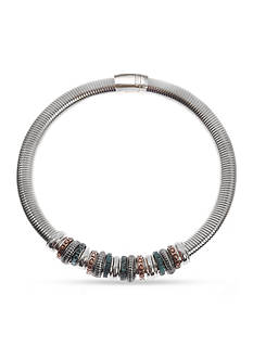 Kim Rogers Tri-Tone Rings Magnetic Collar Necklace