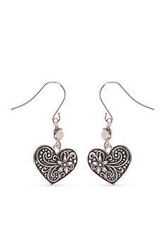 Kim Rogers Silver-Tone Heart Drop Earrings