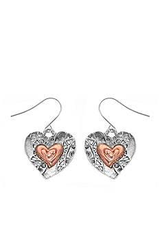Kim Rogers Two-Tone Heart Drop Earrings