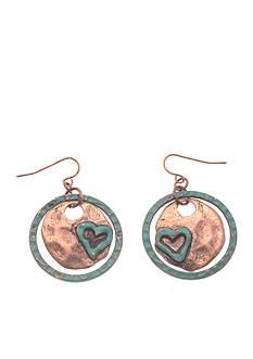 Kim Rogers Rose Gold-Tone Heart Disc Drop Earrings