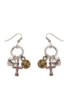 Kim Rogers Silver-Tone Triple Charm Drop Earrings