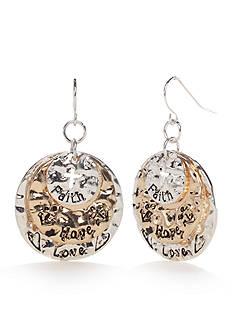 Kim Rogers Two-Tone I Believe Love Disc Drop Earrings