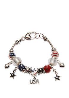 Kim Rogers Silver-Tone American Stars Charm Bracelet