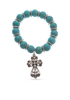 Kim Rogers Silver-Tone Crystal Cross Stretch Bracelet