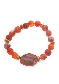 Kim Rogers Gold-Tone Orange Agate Beaded Stretch Bracelet