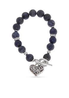 Kim Rogers Silver-Tone Black Agate Heart Charm Bracelet