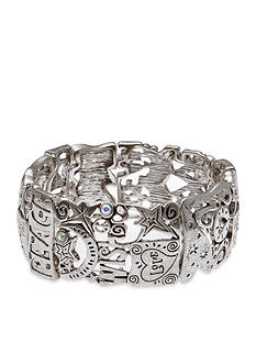 Kim Rogers Silver-Tone I Believe Peace and Love Stretch Bracelet