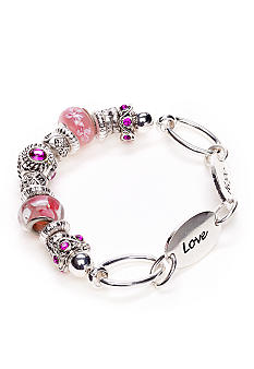Kim Rogers Silver and Pink Glass Charm Bracelet on Silver Inspirational Links Boxed Item
