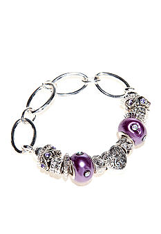 Kim Rogers Purple Glass and Mom Charm Stretch Bracelet