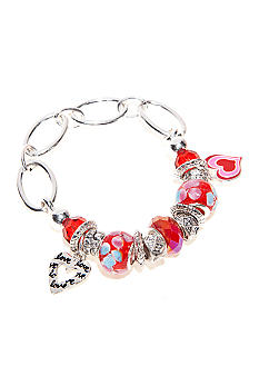 Kim Rogers Red Glass and Heart Charm Stretch Bracelet