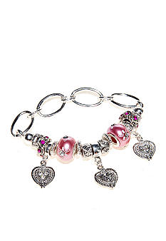 Kim Rogers Pink Pearl Glass Heart Charm Dropoffs Stretch Bracelet