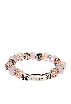 Kim Rogers Pink Glass Bead Inspirational Stretch Bracelet