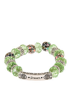 Kim Rogers Peridot Glass Beaded Stretch Bracelet