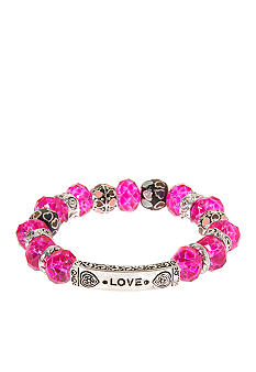Kim Rogers Inspirational Glass Stretch Pink Bracelet