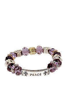 Kim Rogers Purple Glass Inspirational Stretch Bracelet
