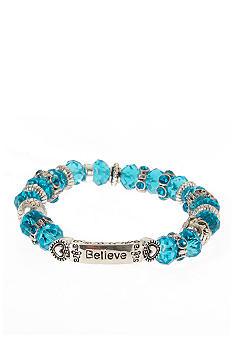 Kim Rogers Aqua Blue Glass Stretch Inspirational Stretch Bracelet