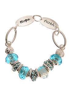 Kim Rogers Inspirational Silver And Blue Charm Bracelet with Clasp