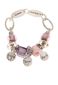 Kim Rogers Silver Pink and Purple Charm Inspirational Bracelet with Clasp