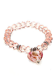 Kim Rogers Pink Glass Heart Charm Stretch Bracelet