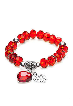 Kim Rogers Red Glass Double Heart Stretch Bracelet