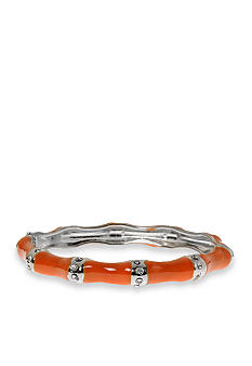 Kim Rogers Orange Epoxy Bangle with Crystal Inlay