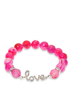 Kim Rogers Pink Agate Stretch Bead Bracelet With Pave Love