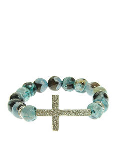 Kim Rogers Turquoise Genuine Fire Agate Stretch Bead Bracelet