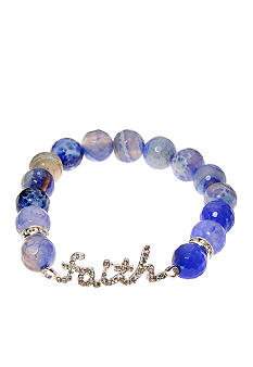 Kim Rogers Blue Agate Stretch Bead Bracelet with Pave Scripted