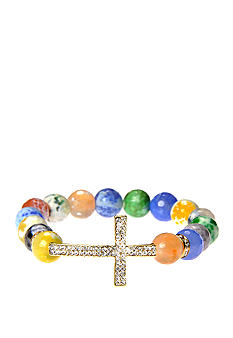 Kim Rogers Multi Pastel Agate Stretch Bead Bracelet with Silver Pave Cross