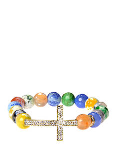 Kim Rogers Multi Pastel Agate Stretch Bead with Silver-Tone Pave Cross Boxed Bracelet