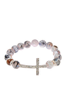 Kim Rogers Multi Gray Agate Stretch Bracelet with Pave Cross