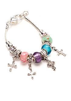 Kim Rogers Pastel Glass Beads Cross Charm Slider Boxed Bracelet