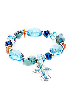 Kim Rogers Boxed Blue and Silver Glass Stretch Bracelet