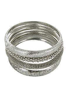 Erica Lyons Silver Bangle Bracelet Set