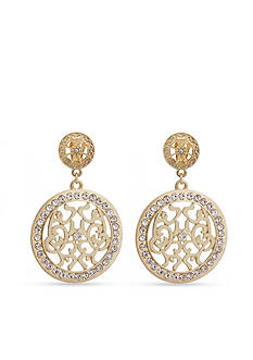 Erica Lyons Gold-Tone Filigree Disc Clip Earrings