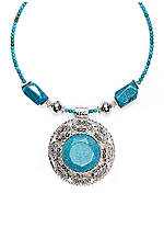 Erica Lyons Silver & Turquoise Coil Necklace