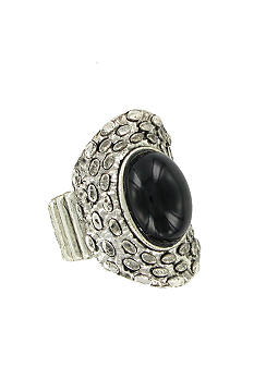 Erica Lyons Silver Black Oval Ring