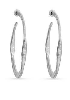 Erica Lyons Silver-tone Metal Hammered Hoop Earrings