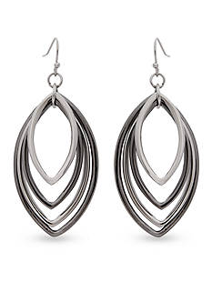 Erica Lyons Silver-Tone Layered Eye Rings Earrings