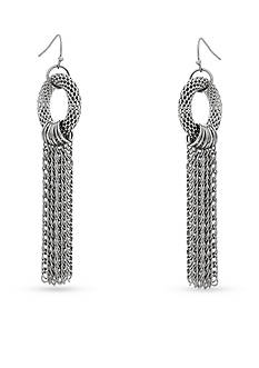 Erica Lyons Silver-Tone Metal Tassel Earrings