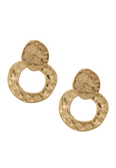 Erica Lyons Hammered Hoop Pierced Earrings